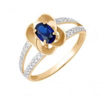 Золотое кольцо с сапфиром и бриллиантами ДПБР210083