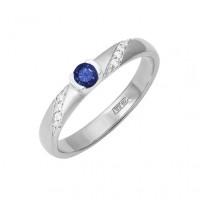 Золотое кольцо с бриллиантами и сапфиром ДПБР210132