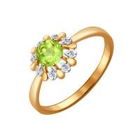 Золотое кольцо с хризолитами и фианитами ДИ714452