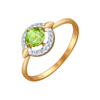 Золотое кольцо с хризолитами и фианитами ДИ714456