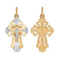 Золотой крест с фианитами ДИ121373