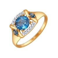 Золотое кольцо с топазами и фианитами ДИ714516