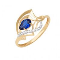 Золотое кольцо с бриллиантами и сапфиром ДПБР210204