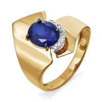 Золотое кольцо с бриллиантами и сапфиром гтом ДПБР210570ГТ