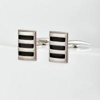 Серебряные запонки с эмалью 8С140019