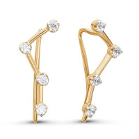 Золотые серьги протяжки с фианитами ЮИС132-3414