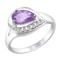 Серебряное кольцо с аметистами и фианитами ДИ92011446