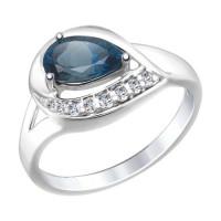 Серебряное кольцо с топазами и фианитами ДИ92011445