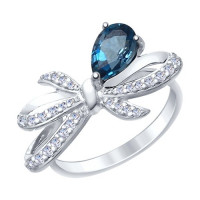 Серебряное кольцо с топазами и фианитами ДИ92011417