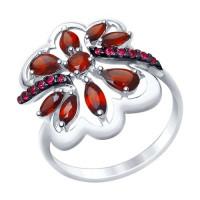 Серебряное кольцо с гранатами и фианитами ДИ92011401