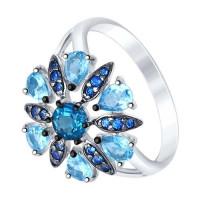 Серебряное кольцо с топазами и фианитами ДИ92011393