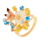 Золотое кольцо с фианитами и перламутрами ПЩК16603