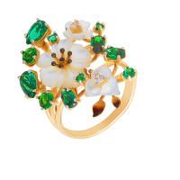 Золотое кольцо с фианитами и перламутрами ПЩК16608