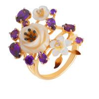 Золотое кольцо с фианитами, кораллами и перламутрами ПЩК16613