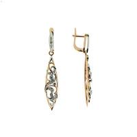 Золотые серьги подвесные с бриллиантами ЗСС12010055