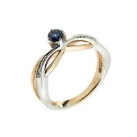Золотое кольцо с бриллиантами и сапфиром ЗСК12000292