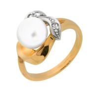 Золотое кольцо с жемчугом и фианитами ПЭКЛ532