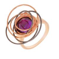Золотое кольцо с аметистами ЖНК200001