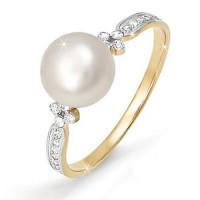 Золотое кольцо с жемчугом и фианитами ДП110919