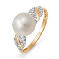 Золотое кольцо с жемчугом и фианитами ДП111731
