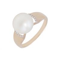 Золотое кольцо с жемчугом и фианитами ДП111647