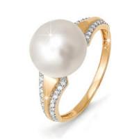 Золотое кольцо с жемчугом и фианитами ДП111657б