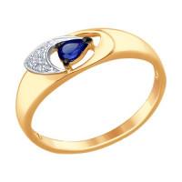 Золотое кольцо с корундами сапфирами и бриллиантами ДИ6012086
