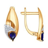 Золотые серьги с корундами сапфирами и бриллиантами ДИ6022093