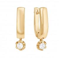Золотые серьги подвесные с бриллиантами ДПБР120294