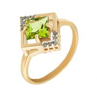 Золотое кольцо с хризолитами и фианитами ГЕК311114