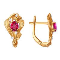 Золотые серьги с бриллиантами и рубинами ДИ4020257