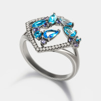 Золотое кольцо с бриллиантами, топазами и иолитами ЮЕР30565
