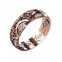 Золотое кольцо обручальное с бриллиантами КАКО-ОКБ230ГЖ35