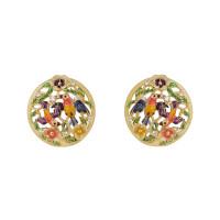 Золотые серьги с бриллиантами и эмалью ИА22880