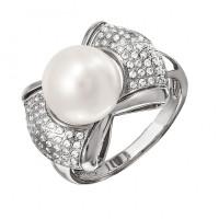 Серебряное кольцо с жемчугом и Swarovski