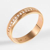 Золотое кольцо обручальное с фианитами 2БК35К-01-1284