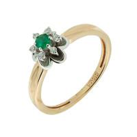 Золотое кольцо с бриллиантами и изумрудом ЗСК18000102