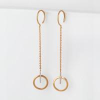 Золотые серьги протяжки с фианитами СН01-215040