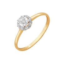 Золотое кольцо с фианитами и Swarovski ЮПК1326236