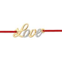 Золотой браслет красная нить с фианитами ЮПБ1325477