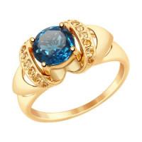 Золотое кольцо с топазами и фианитами ДИ714882