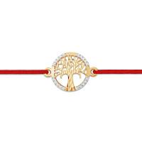 Золотой браслет красная нить с фианитами ЮПБ1225476
