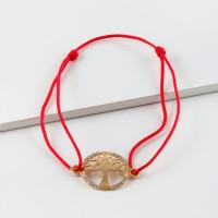 Золотой браслет  красная нить с фианитами ЮПБ1325476