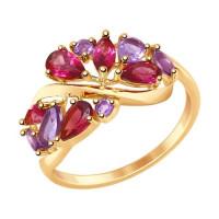 Золотое кольцо с аметистами и родолитами ДИ714845