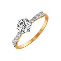 Золотое кольцо с Swarovski ДИ81010240