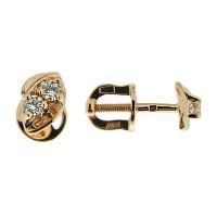 Золотые серьги гвоздики с бриллиантами ЮЗ5-11-0372-101 женские