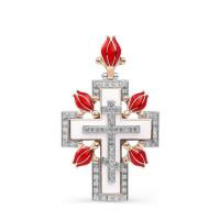Золотой крест с бриллиантами и эмалью 9К3-0279