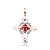 Золотой крест с бриллиантами и эмалью 9К3-0286