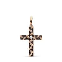 Золотой крест с бриллиантом и эмалью 9К3-0289-1002