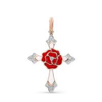 Золотой крест с бриллиантами и эмалью 9К3-0296-1001